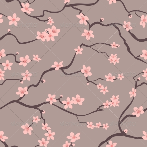 Floral Seamless Background Pattern of Cherry Tree