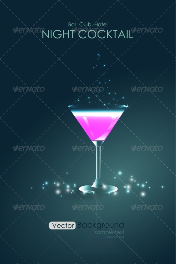 GraphicRiver Pink Cocktail in a Glass Goblet 8076386