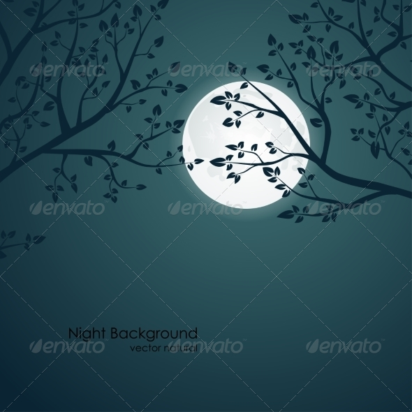 GraphicRiver Night with Trees and Moon 8076606