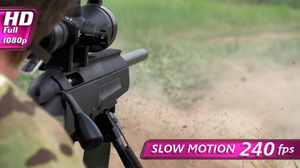VideoHive Sniper Shoots from a Rifle 8077047