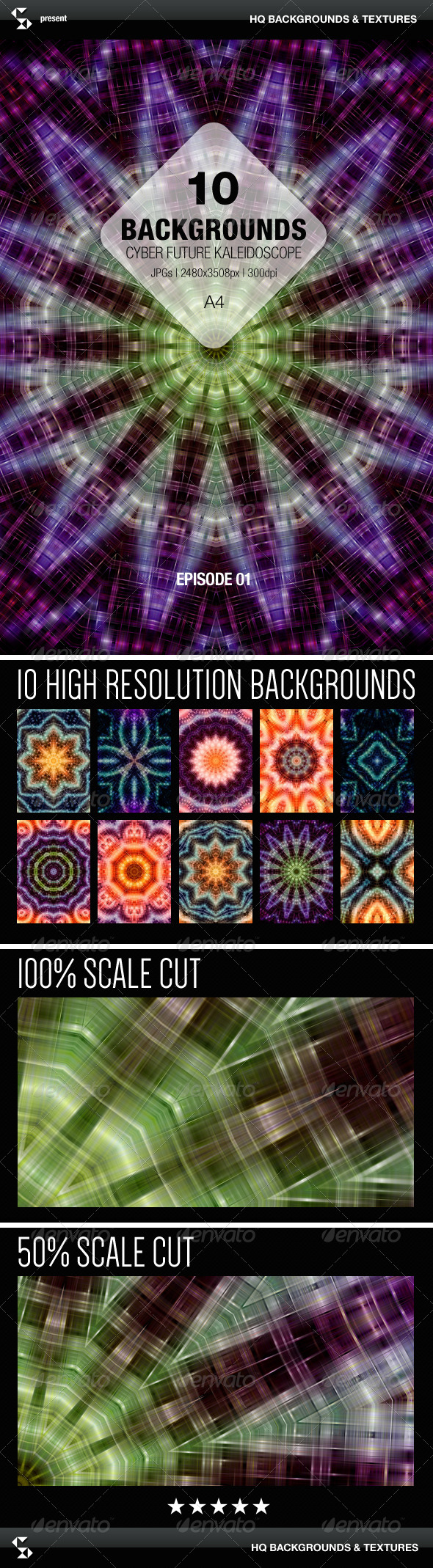 GraphicRiver Cyber Future Kaleidoscope Backgrounds Episode 01 8077532