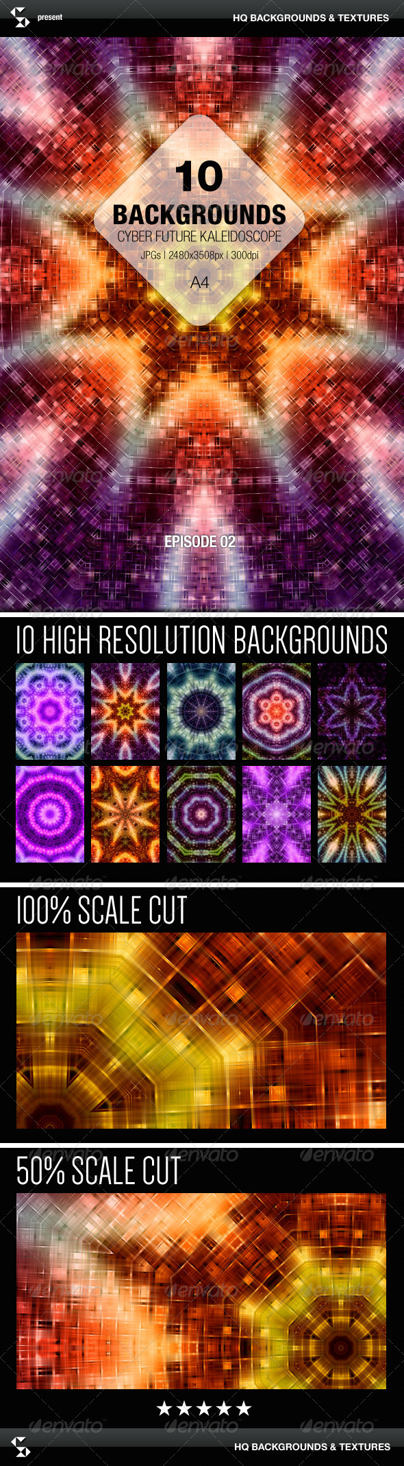 GraphicRiver Cyber Future Kaleidoscope Backgrounds Episode 02 8077722