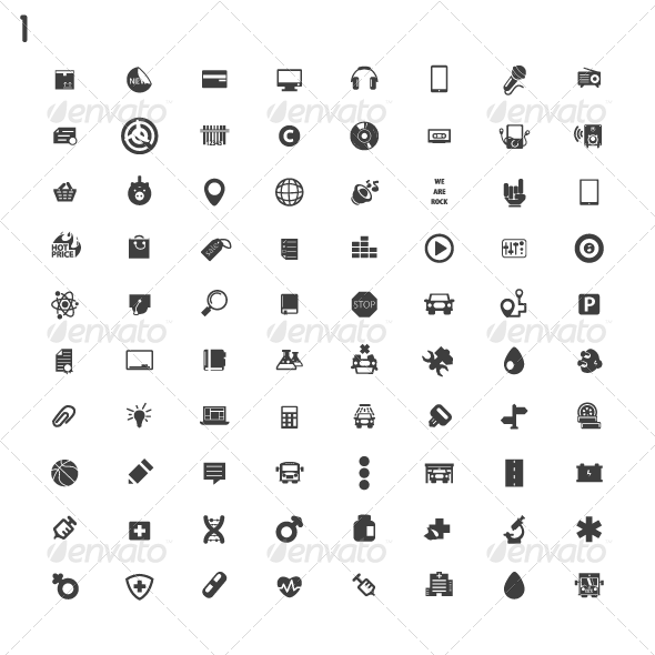 GraphicRiver Black Icons 8077729