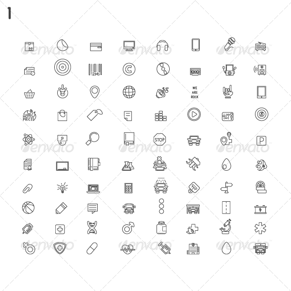 GraphicRiver Line Modern Icons 8078191