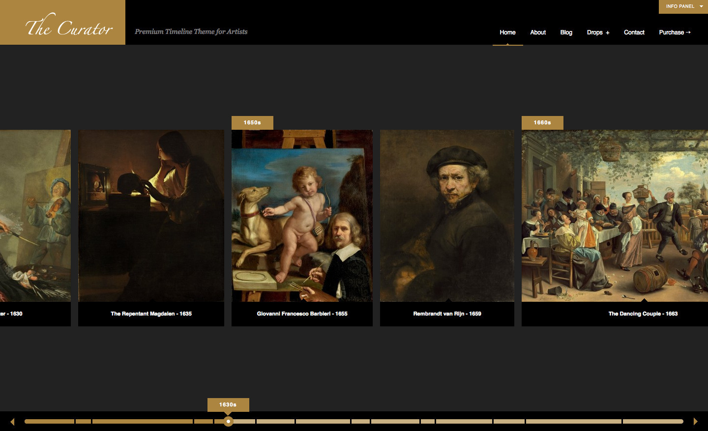 The Curator: Premier WP Timeline Theme for Artists