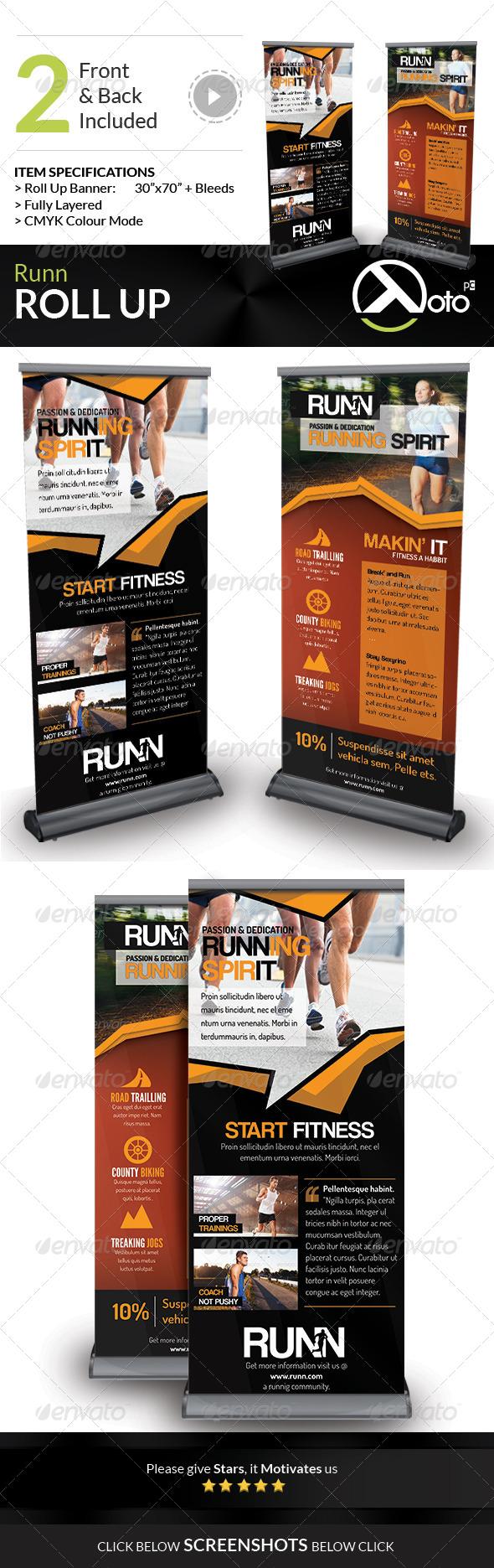 Runn Marathon Running Club Fitness Rollup Banners