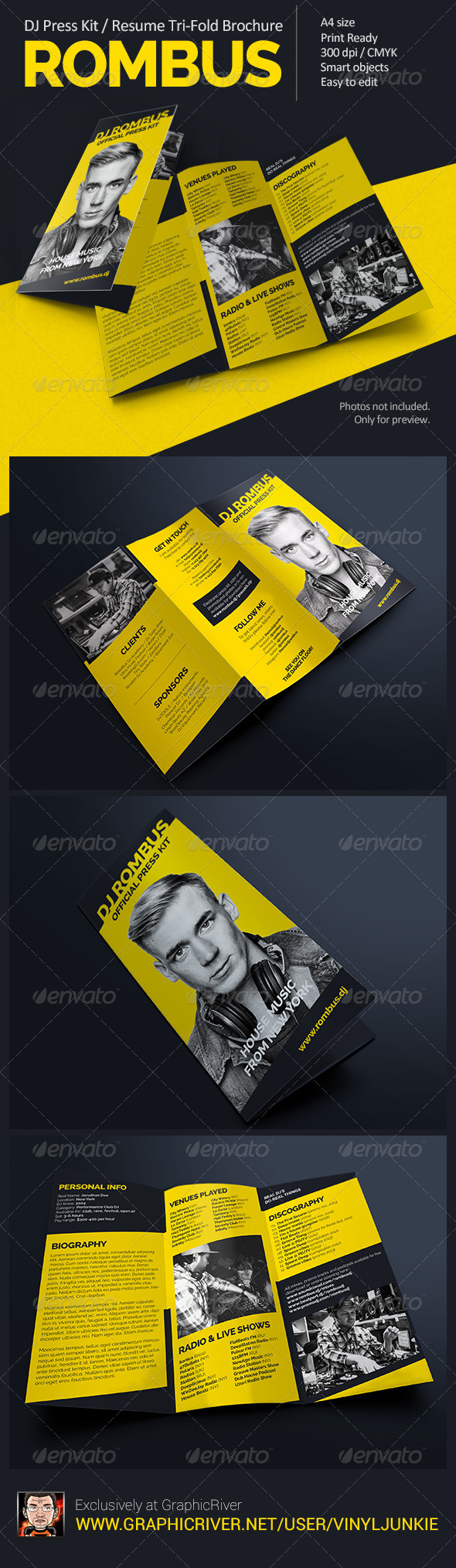 GraphicRiver Rombus DJ Press Kit Tri-Fold Brochure 8078497