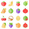 Cute stylish fruits flat icons - PhotoDune Item for Sale