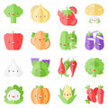Cute stylish vegetables flat icons - PhotoDune Item for Sale