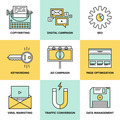 Digital marketing and seo optimization flat icons - PhotoDune Item for Sale