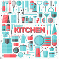 Kitchen and cooking utensils flat illustration - PhotoDune Item for Sale