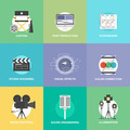 Film shooting and production flat icons set - PhotoDune Item for Sale