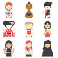 Girls in traditional clothes flat icons - PhotoDune Item for Sale