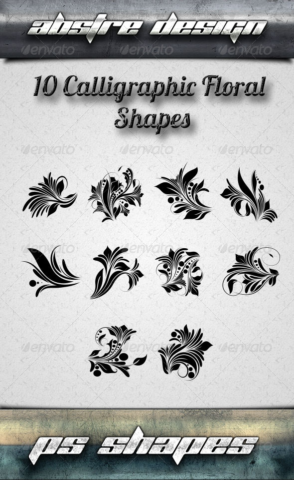 GraphicRiver 10 Calligraphic Floral Shapes 8065020