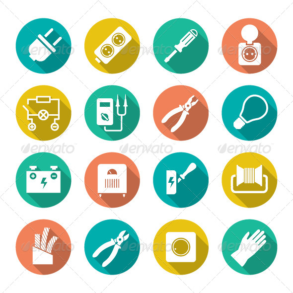 GraphicRiver Set Round Flat Icons of Electricity 8078777