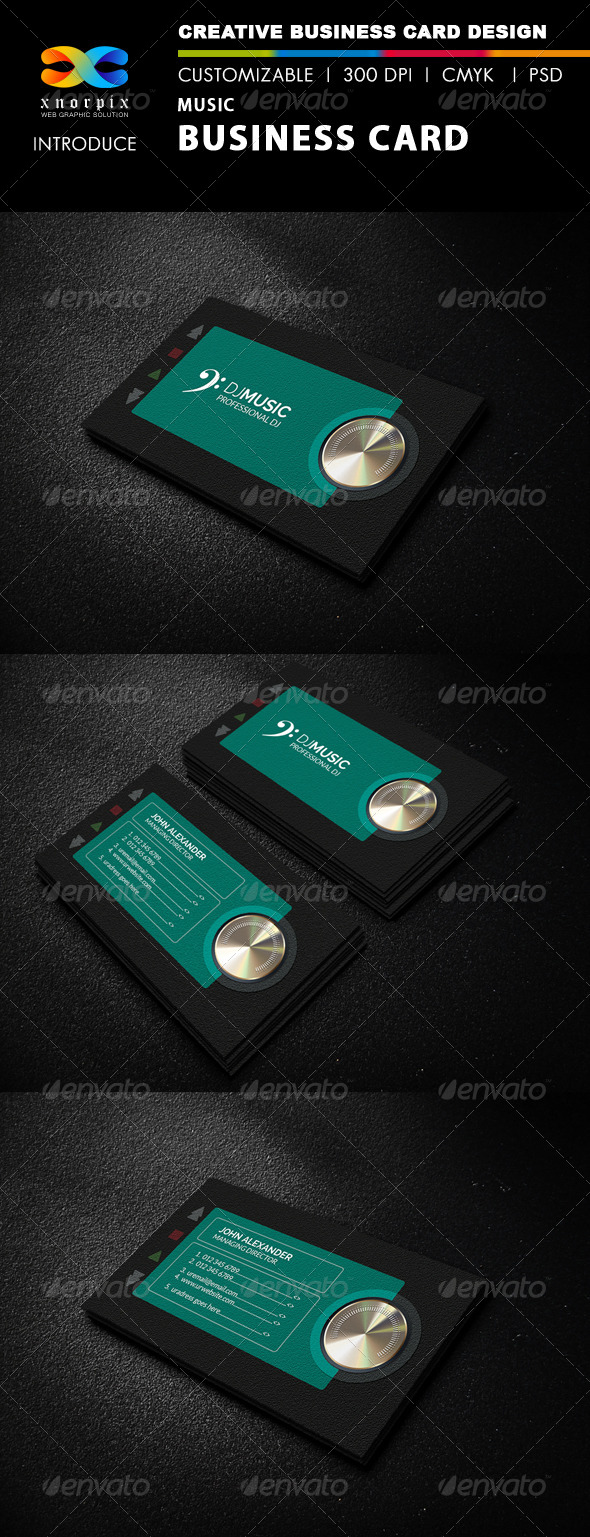 GraphicRiver Music Business Card 8078879