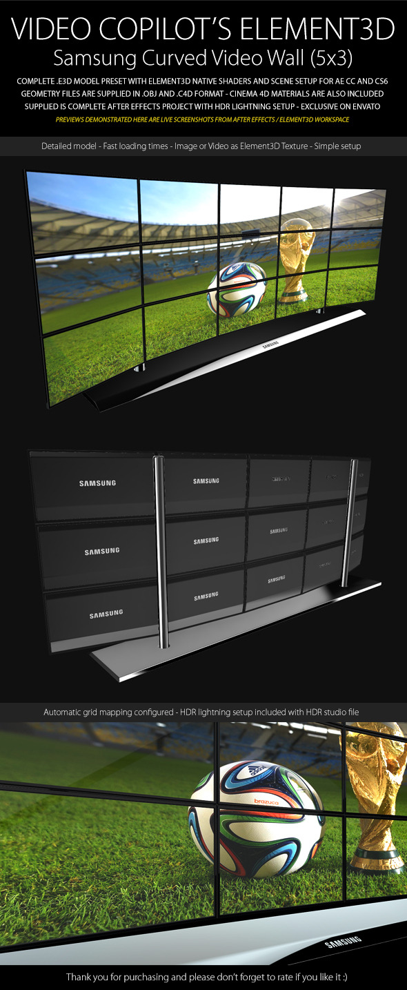 Element3D - Samsung Video Wall (Curved 5x3) - 3DOcean Item for Sale