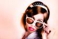 Surprised retro pop art girl wearing red lipstick - PhotoDune Item for Sale