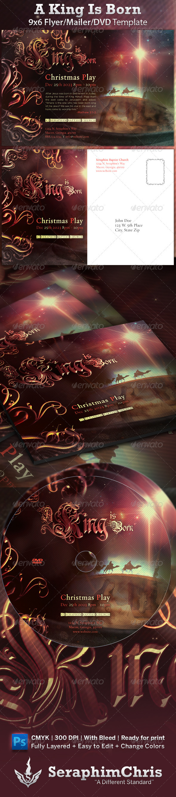 GraphicRiver A King Is Born Christmas Church Flyer 825946