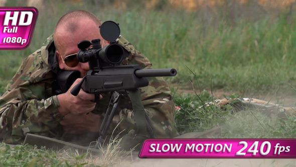 VideoHive Sniper Shoots at a Target 8080946