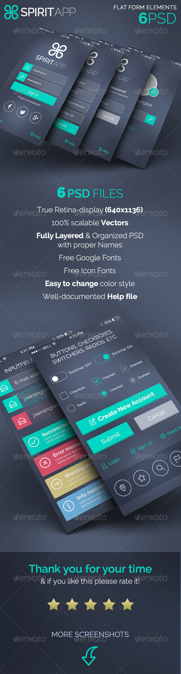 GraphicRiver SpiritApp Flat Form Elements 8081258