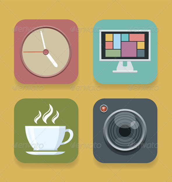 GraphicRiver Vector Flat Style Icons 8081277