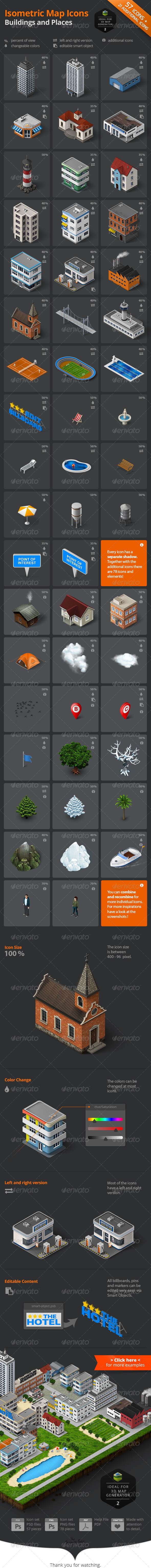 GraphicRiver Isometric Map Icons Buildings and Places 8081725