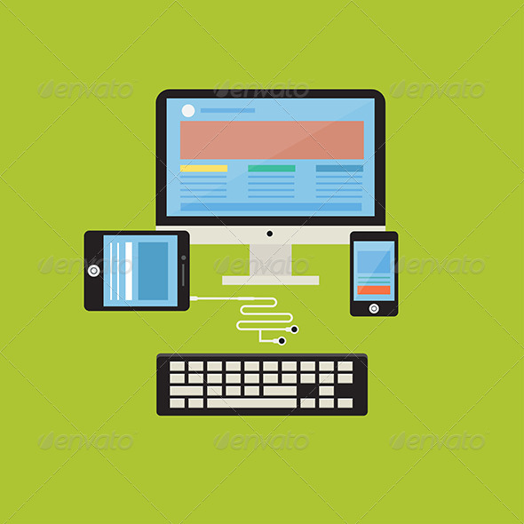 GraphicRiver Flat Design Concept Computer and Responsive Web 8081859