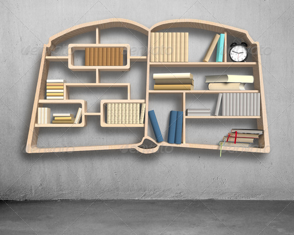 Book shape bookshelf on concrete wall