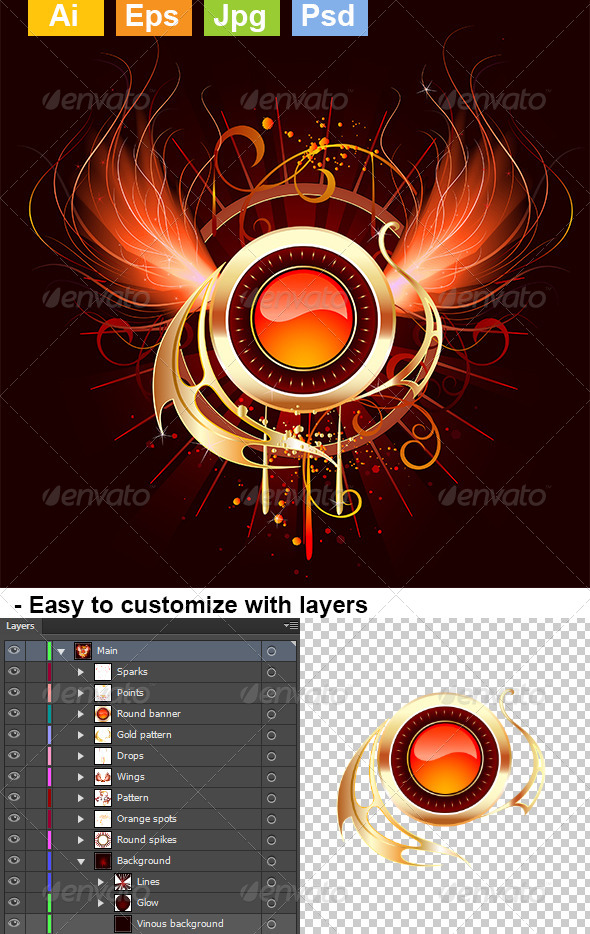 GraphicRiver Hot Round Banner with Fiery Wings 8082102