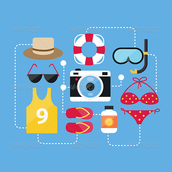 GraphicRiver Flat Design Concept Summer Accessories and Summer 8082135