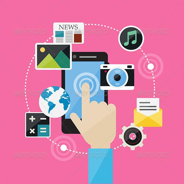 GraphicRiver Flat Design Concept Web Internet and Social Network 8082312