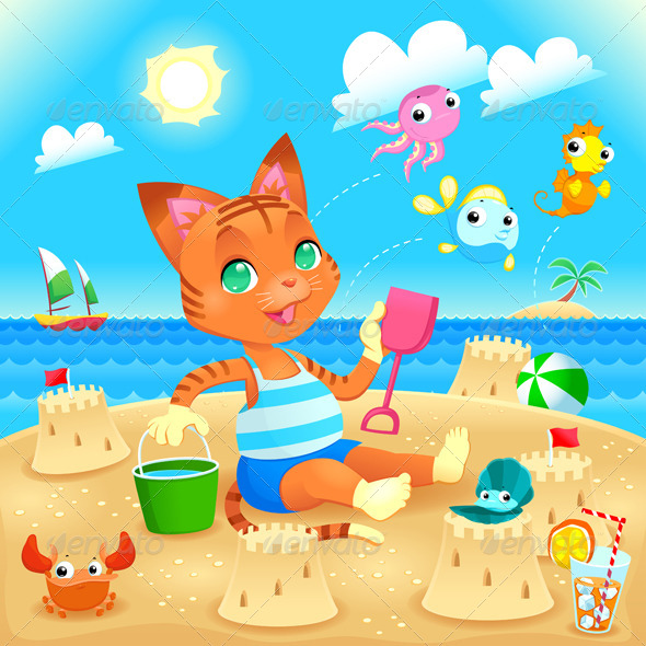 GraphicRiver Young Cat Makes Castles on the Beach 8082401