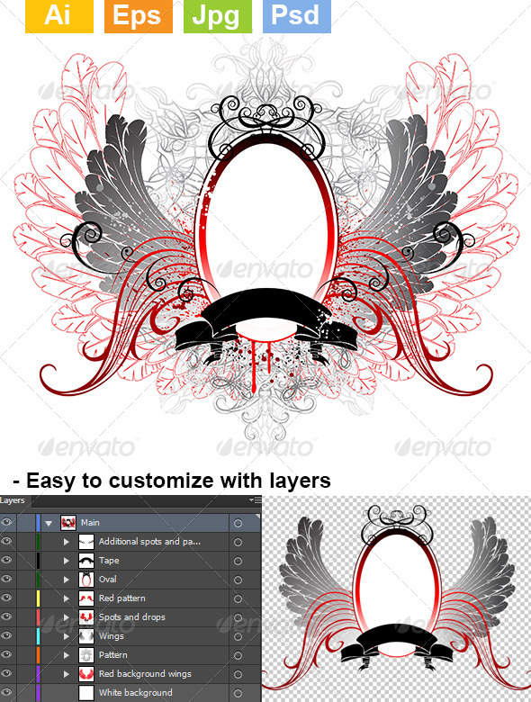 GraphicRiver Oval Banner with Gray Wings 8082419