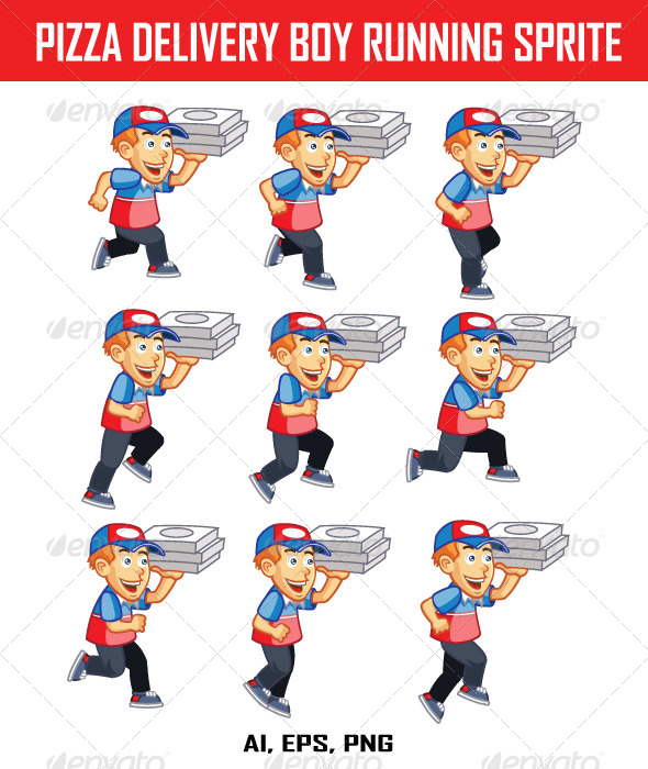 GraphicRiver Pizza Delivery Boy Running Sprite 8082476