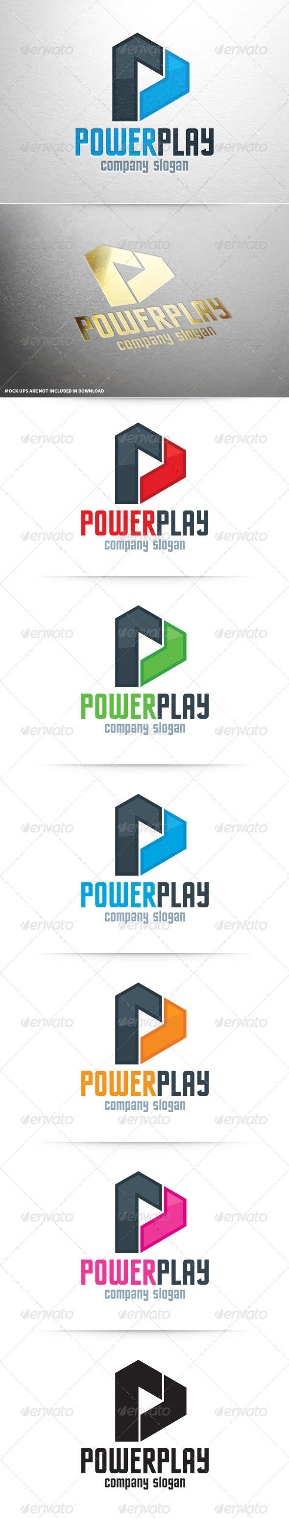 Power Play Letter P Logo