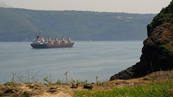 Trade Ship and The Istanbul Bosphorus
