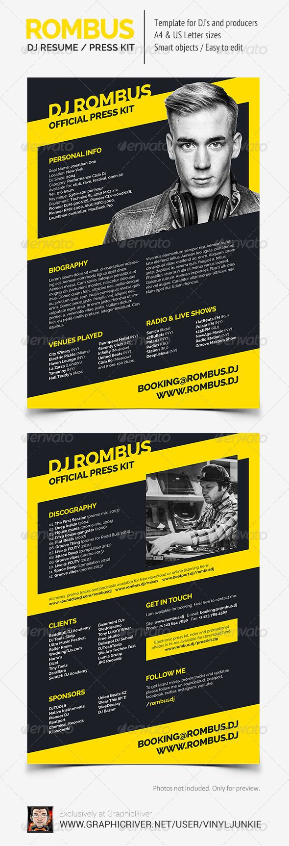 Rombus - DJ Resume - Resumes Stationery