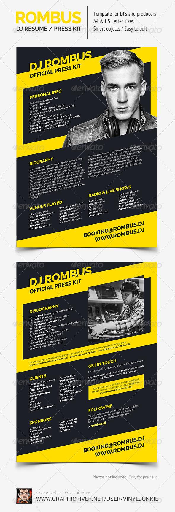 GraphicRiver Rombus DJ Resume 8083100