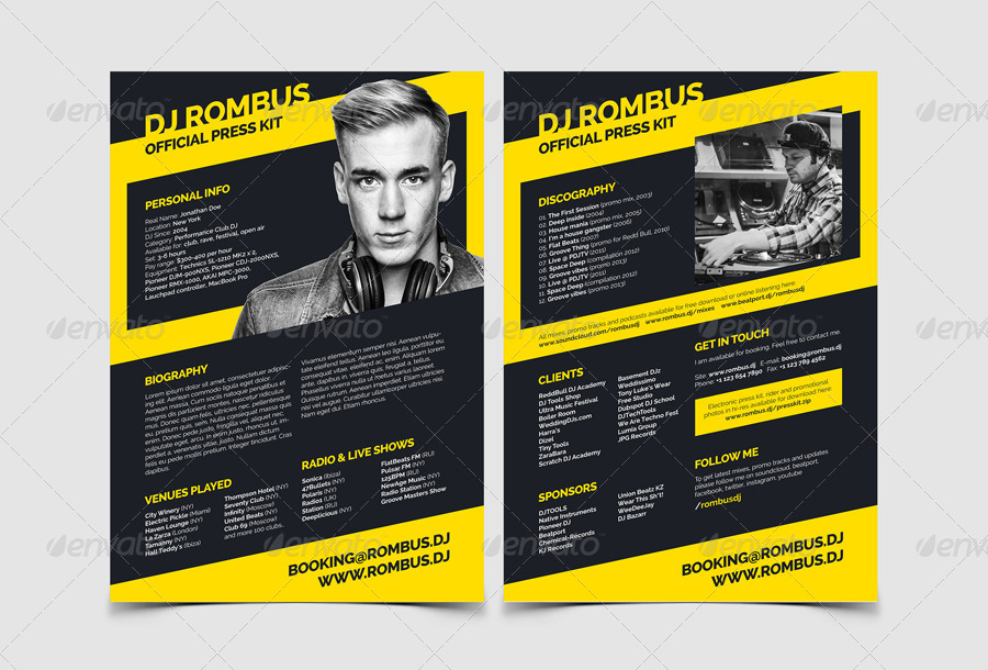 Rombus dj resume press kit psd template by vinyljunkie for Artist press release template