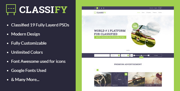 ThemeForest Classify Classified Ads PSD Template 8083343