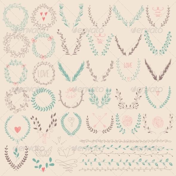 GraphicRiver Set of Laurel Floral Wreaths and Frames 8083491