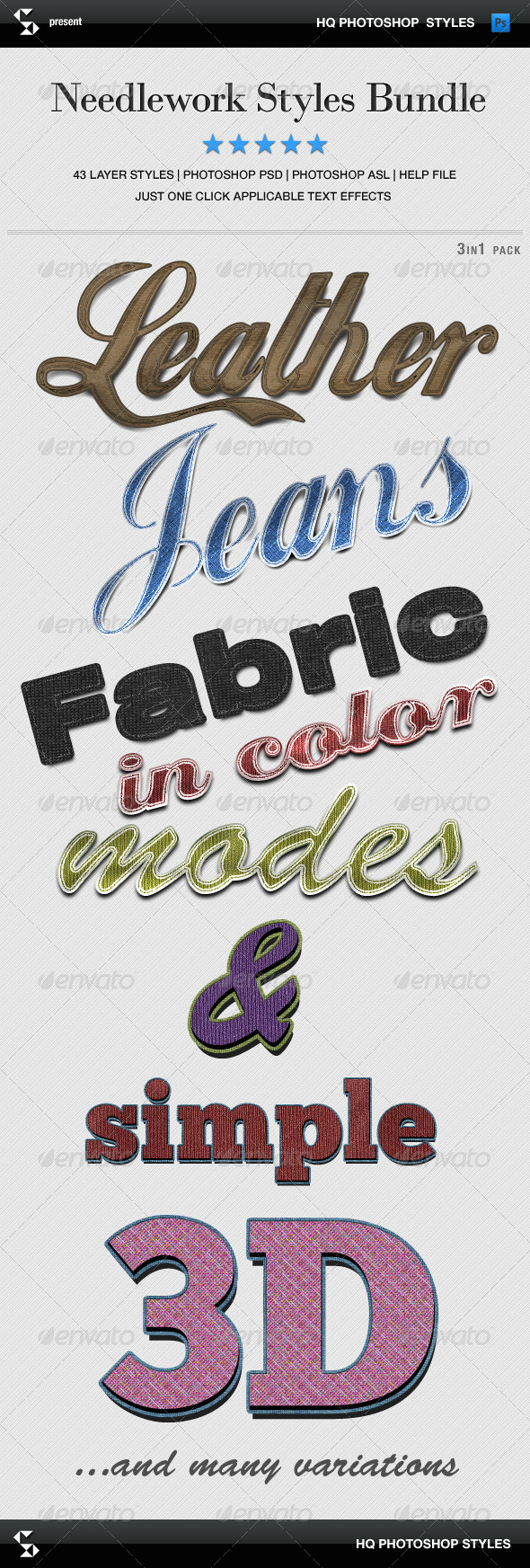GraphicRiver Needlework Styles Bundle Denim Leather Fabric 8083632
