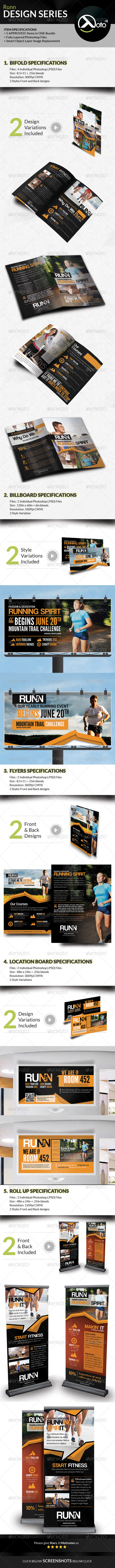 GraphicRiver Runn Marathon Running Club Fitness Design Bundle 8083730