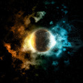 3D space background with fire and ice planet - PhotoDune Item for Sale