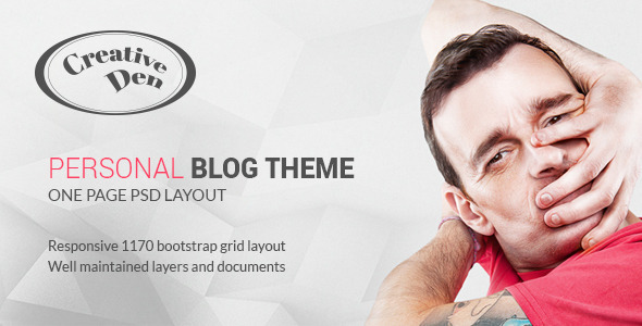 Bloggers Den - One Page Personal Blog Template - Miscellaneous PSD Templates