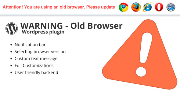 Warning Old Browser - Wordpress plugin - CodeCanyon Item for Sale