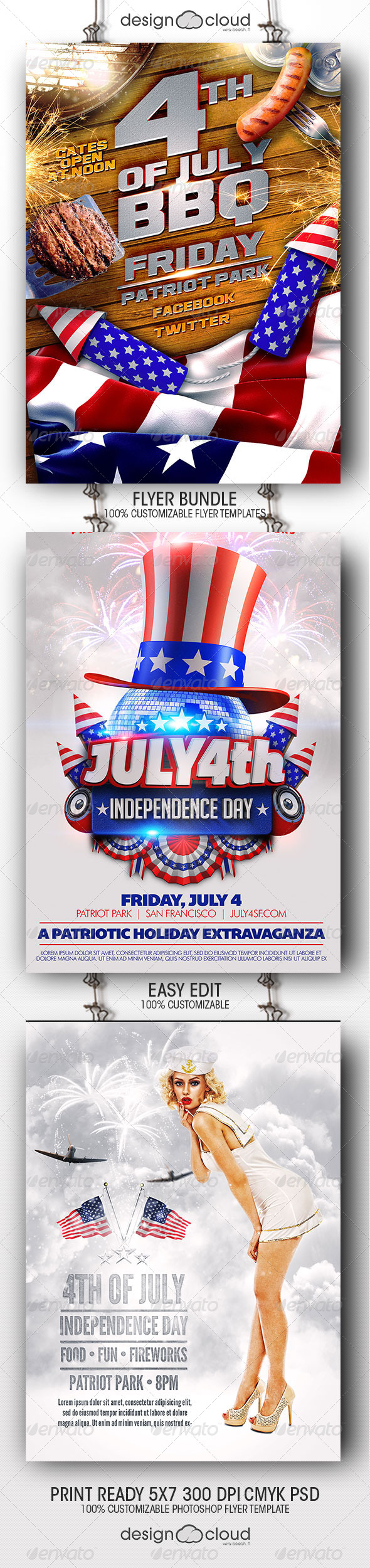 GraphicRiver July 4th Independence Day Flyer Template Bundle 8084734