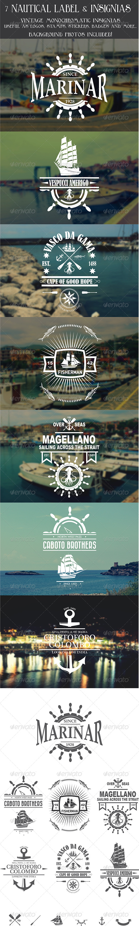 GraphicRiver 7 Vintage Nautical Insignias Logo 8070866