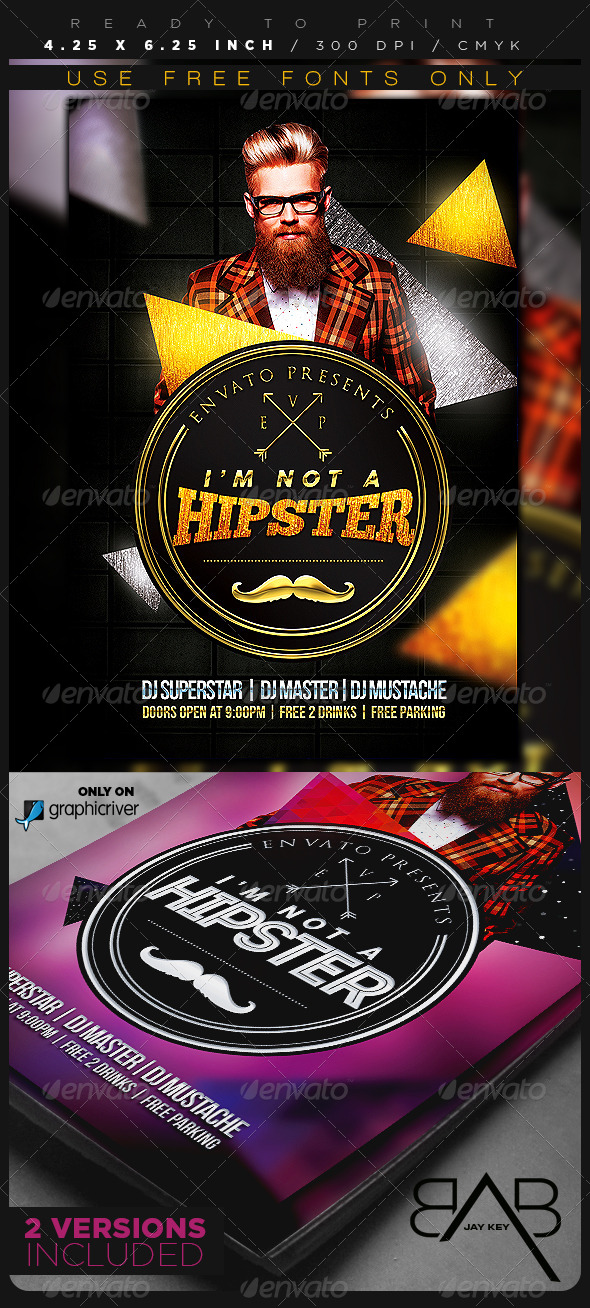 GraphicRiver Hipster Party Flyer 8085009